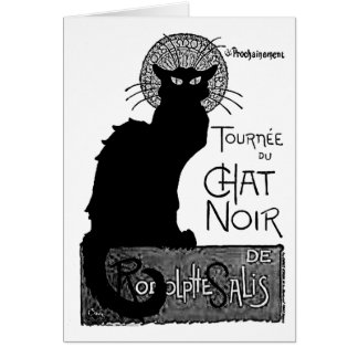 Halloween Black Cat French Words Chat Noir Text Card
