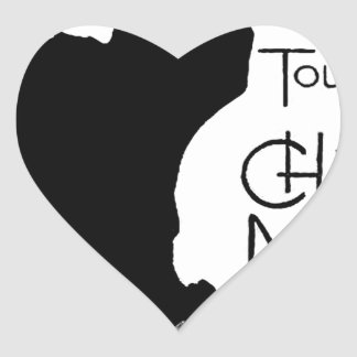 Halloween Black Cat French Words Chat Noir Text Heart Sticker