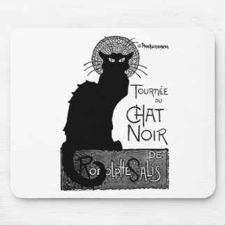 Halloween Black Cat French Words Chat Noir Text Mouse Pad
