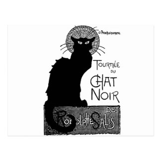 Halloween Black Cat French Words Chat Noir Text Postcard