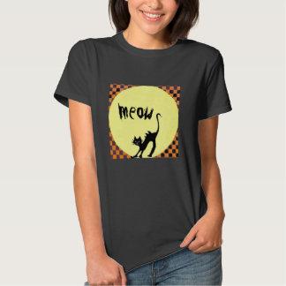 Halloween Black Cat Full Moon Meow T-Shirt