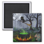 Halloween Black Cat Funny Witch Creationarts 2 Inch Square Magnet