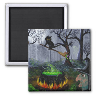 Halloween Black Cat Funny Witch Creationarts Magnet