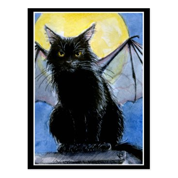 Halloween Themed Halloween black cat gargoyle postcard