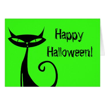 Halloween Themed Halloween Black Cat Greeting Card