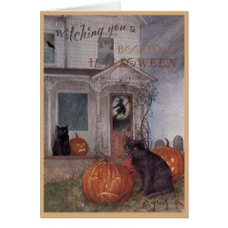 HALLOWEEN BLACK CAT & haunted house Card
