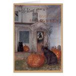 HALLOWEEN BLACK CAT & haunted house Greeting Card