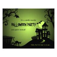 Halloween Black Cat Haunted House Custom Invitation