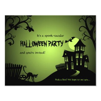 Halloween Black Cat Haunted House Custom Invitation