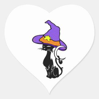 Halloween Black Cat Heart Sticker