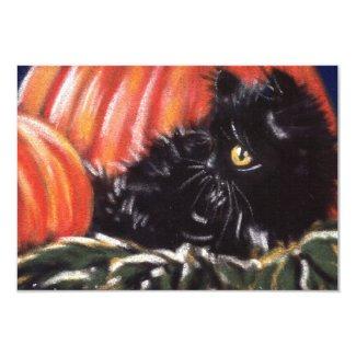 Halloween Black Cat Hiding In Pumpkins Invitations