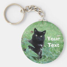 Halloween Black Cat In Grass Looks Curious Keyring at Zazzle