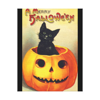 Halloween Black Cat In Pumpkin Vintage Art Canvas Print