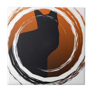 Halloween Black Cat in Spiral Design Ceramic Tile