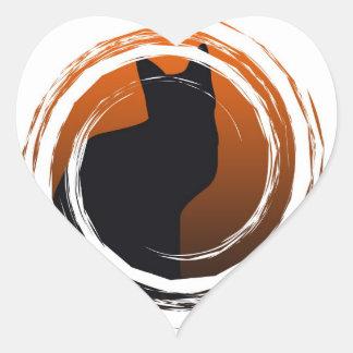 Halloween Black Cat in Spiral Design Heart Sticker