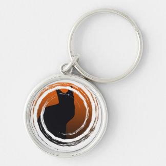 Halloween Black Cat in Spiral Design Keychain