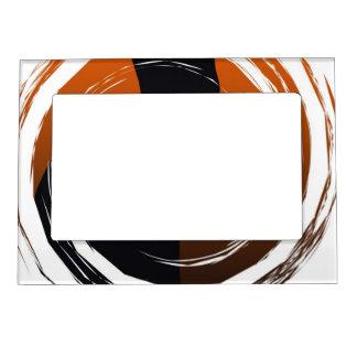 Halloween Black Cat in Spiral Design Magnetic Frame