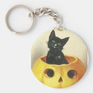 Halloween, Black Cat inside a Pumpkin Keychain
