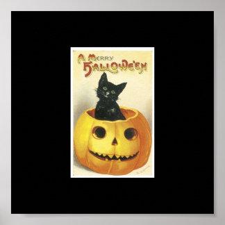 Halloween, Black Cat inside a Pumpkin Poster