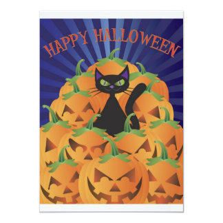 "Halloween Black Cat Invitation 5"" X 7"" Invitation Card"