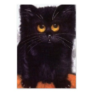 Halloween Black Cat Invitations