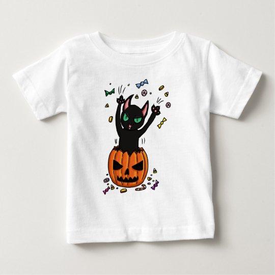 Halloween Black cat jumping out of a pumpkin Baby T-Shirt