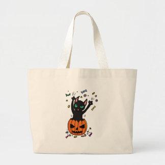 Halloween Black cat jumping out of a pumpkin Canvas Bag