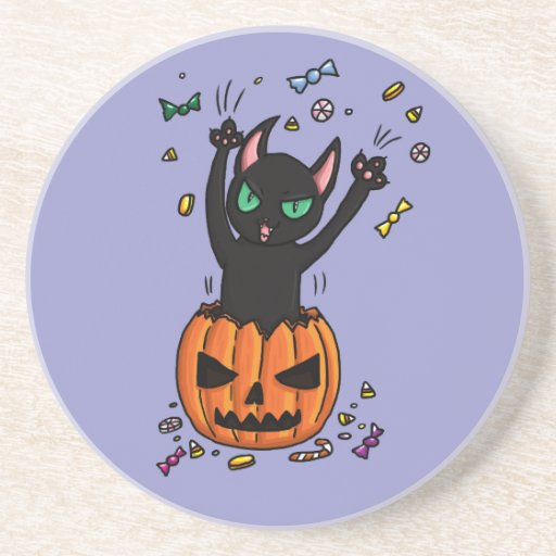 Halloween Black cat jumping out of a pumpkin Beverage Coasters