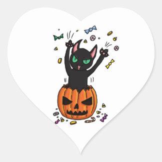 Halloween Black cat jumping out of a pumpkin Heart Sticker