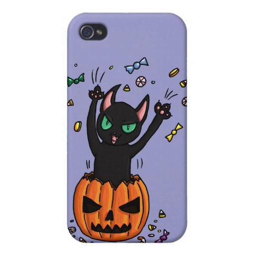 Halloween Black cat jumping out of a pumpkin Case For iPhone 4