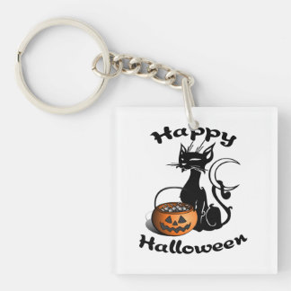 Halloween Black Cat Double-Sided Square Acrylic Keychain