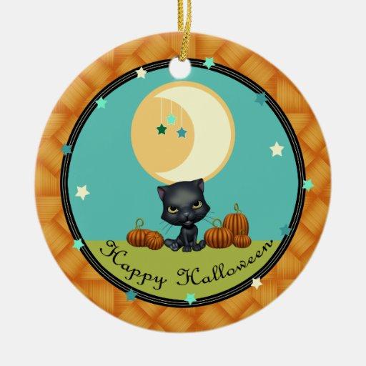 Halloween Black Cat Moon and Stars Round Ornament