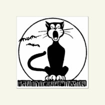 Halloween black cat moon bats rubber stamp