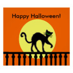 Halloween Black Cat Moon Fence Poster