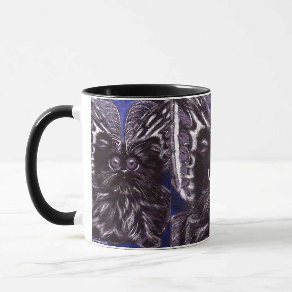 Halloween Black Cat Moth Cat Mug