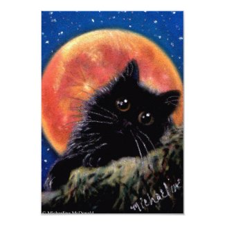 Halloween Black Cat Muggin Moon Invitations