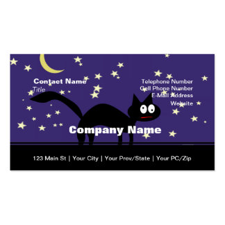 Halloween Black Cat on Fence Business Card