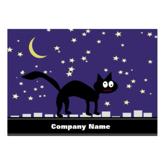 Halloween Black Cat on Fence Large Business Card