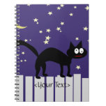 Halloween Black Cat on Fence Spiral Notebook