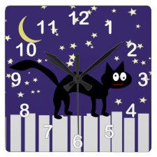 Halloween Black Cat on Fence Wall Clocks