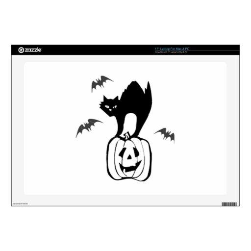 "Halloween Black Cat on Pumpkin Decal For 17"" Laptop"