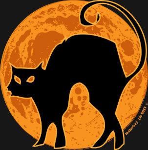 Halloween Black Cat Orange Moon T Shirt
