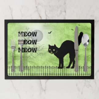 Halloween Black Cat Over-all Green Print Scene Placemat