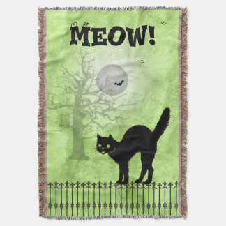 Halloween Black Cat Over-all Green Print Scene Throw