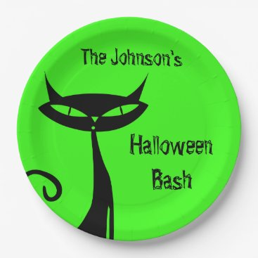 Halloween Themed Halloween Black Cat Paper Plate