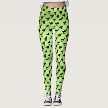 Halloween Themed Halloween Black Cat Pattern on Lime Green Grunge Leggings