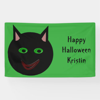 Halloween Black Cat Personalized Banner
