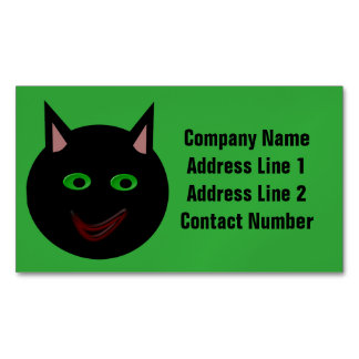 Halloween Black Cat Personalized Business Card Magnet