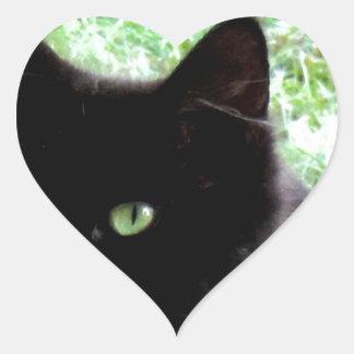 Halloween Black Cat Photo Design Heart Sticker