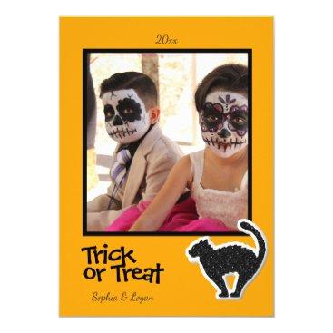 Halloween Themed Halloween Black Cat Photo Frame- Card